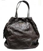 PRADA(プラダ)の古着「シワ加工レザートートバッグ」|モカ