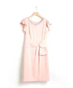 JUSGLITTY Luxe(ジャスグリッティー)の古着「リボンデザインワンピース」|ピンク