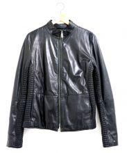 ARMANI COLLEZIONI(アルマーニ コレッツィオーニ)の古着「切替ラムレザージャケット」|ブラック