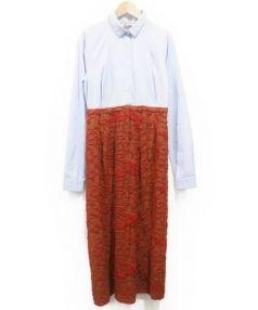 N°21 numero ventuno(ヌメロヴェントゥーノ)の古着「ドッキングシャツワンピース」 スカイブルー×オレンジ