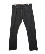 Stevenson Overall Co.(スティーブンソン オーバーオール)の古着「セルビッチデニムパンツ」|ブラック