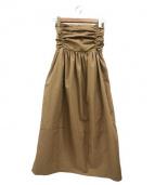 ELIN(エリン)の古着「タフタウエストギャザースカート」|ベージュ