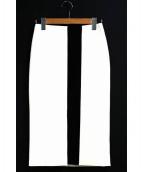 ADEAM(アディアム)の古着「タイトスカート」|ホワイト×ブラック