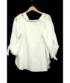 Rene(ルネ)の古着「リボン袖オフショルダーブラウス」|ホワイト