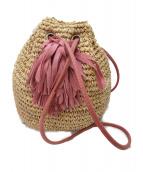 LUDLOW(ラドロー)の古着「巾着フリンジストローバッグ」|ナチュラル×ピンク