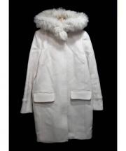 JUSGLITTY(ジャスグリッティ)の古着「ファー付メルトンコート」 ベージュ