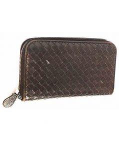 BOTTEGA VENETA(ボッテガベネタ)の古着「イントレラウンドファスナー長財布」|ブラウン