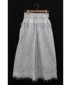 CEDRIC CHARLIER(セドリック シャルリエ)の古着「フリンジワイドパンツ」|ホワイト
