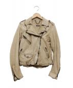 SISII(シシ)の古着「レザーダブルライダースジャケット」|ベージュ