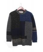 Casely-Hayford(ケイスリー・ヘイフォード)の古着「パッチワーククルーネックニット」|グレー×ネイビー