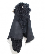 ANN DEMEULEMEESTER(アン・ドゥムルメステール)の古着「変形ムートンベスト」|ブラック
