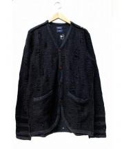 MIHARA YASUHIRO(ミハラヤスヒロ)の古着「ダメージ加工ウールカーディガン」|ネイビー