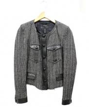 Isabel Marant(イザベルマラン)の古着「ノーカラーチェックショートジャケット」|ブラック