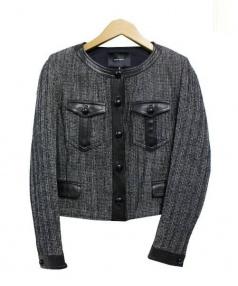 ISABEL MARANT (イザベルマラン) ノーカラーチェックショートジャケット ブラック サイズ:40 未使用品 未使用品 参考定価113,000円+税