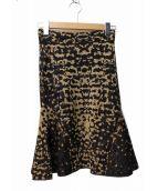 missoni(ミッソーニ)の古着「レオパードジャガードスカート」|ブラック×ベージュ