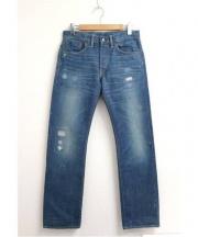 RRL(ダブル アールエル)の古着「リペア加工デニムパンツ」 ブルー