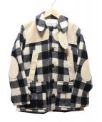 PINECONE(パインコーン)の古着「スウェード切替メルトンコート」|ブラック×アイボリー