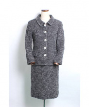Rene(ルネ)の古着「ツィードセットアップスーツ」|ホワイト×ブラック