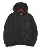 LOVE MOSCHINO(ラブモスキーノ)の古着「LM柄中綿フーデッドジャケット」 ブラック