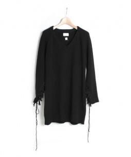 mame(マメ)の古着「袖タッセルニットワンピース」|ブラック