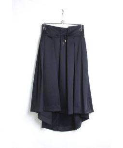 WHYTO(ホワイト)の古着「フロントレースアップタックフレアスカート」|ネイビー