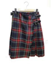 ONEIL OF DUBLIN(オニール オブ ダブリン)の古着「ラップスカート」|ブラック×グリーン×レッド