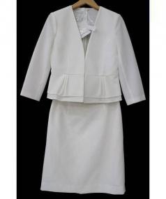 ANAYI(アナイ)の古着「ノーカラーラッセルセットアップスーツ」|ホワイト