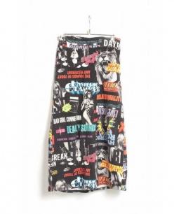 Hysteric Glamour(ヒステリックグラマー)の古着「ROCK総柄ロングスカート」|ブラック
