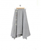 FRAY I.D(フレイアイディー)の古着「サイドボタンフレアスカート」|グレー