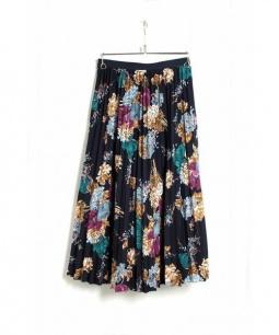 Deicy(デイシー)の古着「フラワーブーケプリーツスカート」|ネイビー