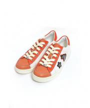 COACH(コーチ)の古着「レザースニーカー」|ホワイト×オレンジ