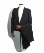 BOTTEGA VENETA(ボッテガヴェネタ)の古着「レザーカラーセットアップスーツ」|ブラック