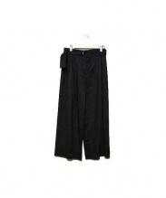 Calvin Klein platinum(カルバン・クライン プラティナム)の古着「リネンストレッチワイドパンツ」|ブラック
