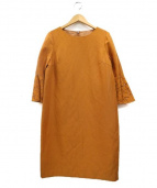 ANAYI(アナイ)の古着「フレアレーススリーブワンピース」|オレンジ