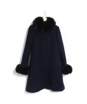 JUSGLITTY(ジャスグリッティー)の古着「フォックスファー付Aラインコート」|ネイビー