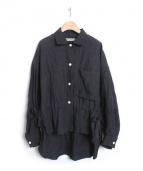 TARO HORIUCHI(タロウホリウチ)の古着「ブラウジングリネンシャツ」|ネイビー