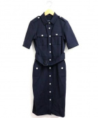 BURBERRY LONDON(バーバリーロンドン)の古着「半袖ストレッチシャツワンピース」|ネイビー