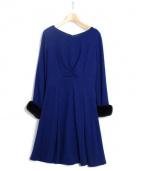 Viaggio Blu(ヴィアッジョブル)の古着「袖ファーフィット&フレアワンピース」|ロイヤルブルー