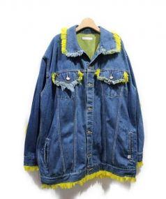 Little sunny bite(リトルサニーバイト)の古着「キアラーフリンジデニムジャケット」 ブルー×イエロー