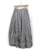 LIMI feu(リミフゥ)の古着「ボーダー×ストライプマキシデザインスカート」|ブラック×ホワイト
