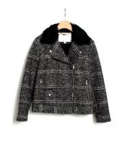 Kaon(カオン)の古着「チェックツイードライダースジャケット」|ブラック