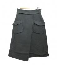 Demi-Luxe BEAMS(デミルクス ビームス)の古着「PK付リバーラップ風スカート」|モスグリーン
