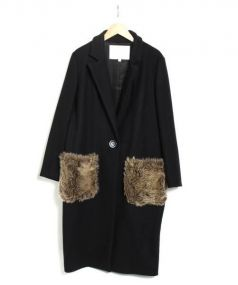 Kaon(カオン)の古着「バックフリルチェスターコート」|ブラック