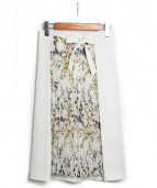 TONAL(トーナル)の古着「バードフラワーアシメプリーツスカート」 ホワイト