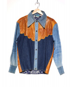 Antonio Guiseppe(アントニオ ジュゼッペ)の古着「レザーデニムシャツジャケット」|ブラウン×ブルー