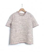 BALENCIAGA(バレンシアガ)の古着「ツィード半袖ニット」|ピンク
