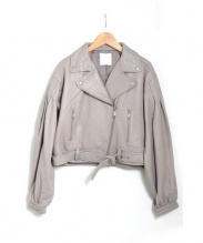 CIROI(シロイ)の古着「ボリュームスリーブライダースジャケット」|ライトグレー