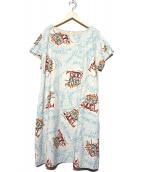 Jocomomola(ホコモモラ)の古着「デザインプリントワンピース」|ベージュ