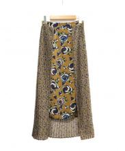 CLANE(クラネ)の古着「フラワーコンビプリーツスカート」|オリーブ