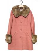 JILL BY JILLSTUART(ジルスチュアート)の古着「ファー襟メルトンコート」|ピンク